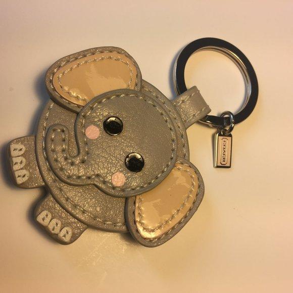 COACH Grey Leather Pink Elephant Key Fob F93073